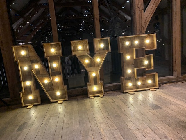 Rustic Light Up NYE Letters