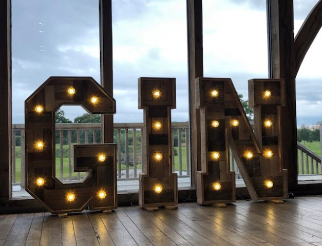 Rustic Light Up GIN Letters